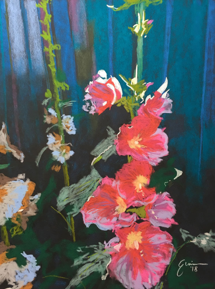 Complementary Concepts: Green Steel and Red Hollyhocks